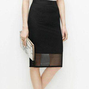 Ann Taylor 0P Black Graphic Lace Pencil Skirt Knee